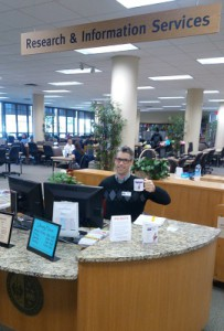 At the reference desk